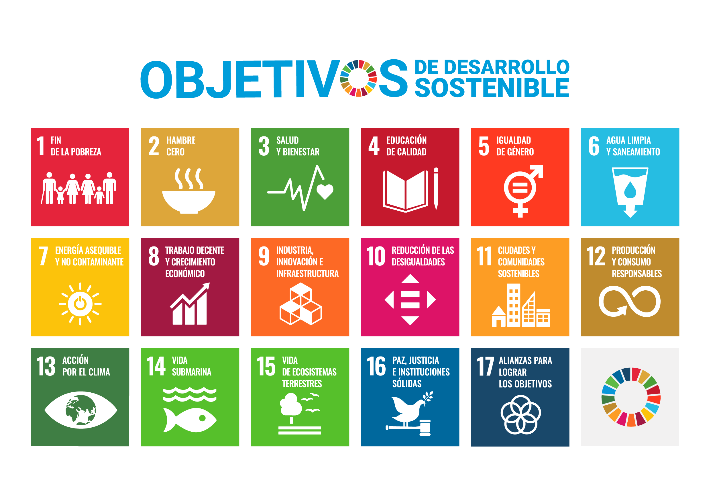Listado de los 17 Objetivos de Desarrollo Sostenible de la Agenda 2030 de Naciones Unidas.