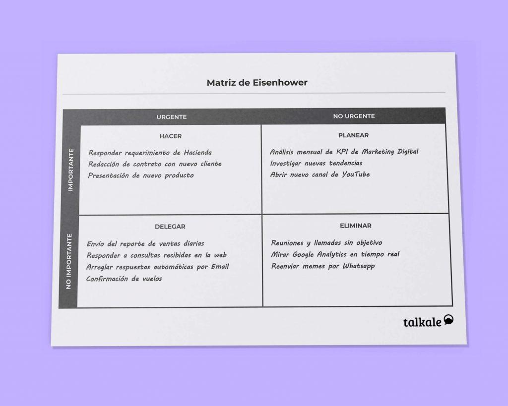 Ejemplo de matriz de Eisenhower por Talkale